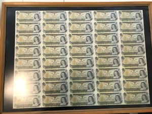 Sheet of $1 bank notes from 1973