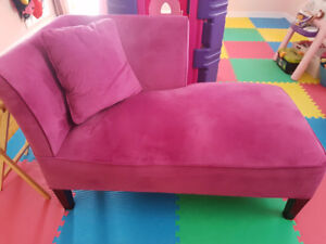 Hot Pink Broyhill Chaise Chair with Pillow - Micro Suede