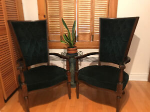 ** Antique green high-back chairs **