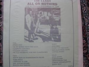 'The Clash'2 x LP All Or Nothing Live in Chicago 1979-Full Tilt