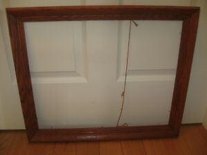 TWO IMPRESSIVE SOLID WOOD GROOVED PICTURE FRAMES
