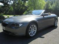 05/05 BMW 630I AUTOMATIC CONVERTIBLE IN PEARLESCENT GREY WITH CREAM LEATHER