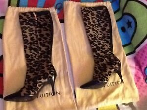 Authentic Louis Vuitton Leopard boots 38 and 1/2