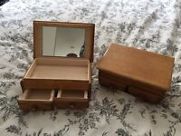 Jewellery Boxes x2 - Stained Oak Colour