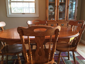 Oak dining room table hutch and buffet