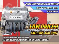 JDM Honda CRV K24A 2.4L i-VTEC VTEC OEM Low Mileage Engine Motor