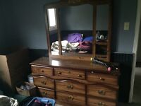 Dresser / mirror armour and two end tables for sale