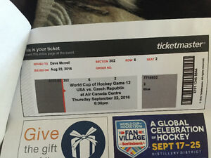 2 tickets to World Cup of Hockey Game 12 Peterborough Peterborough Area image 3