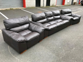 BROWN LEATHER 3 Seater Sofa & 2 Chairs