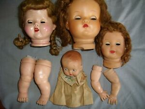 Vintage doll heads and parts