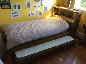 Solid hardwood bed frame with Trundle