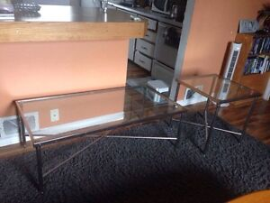 Glass top coffee table and end table