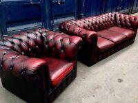 2 Piece Suite Chesterfield Original *EXCELLENT CONDITION* Antique Genuine Oxblood Leather £500 Cash