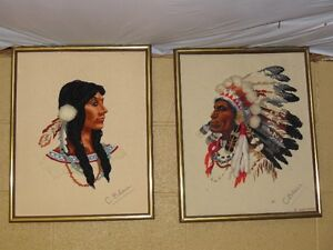 Indian chief and princess stitchery