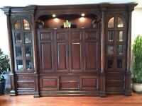 Hooker entertainment centre solid wood and vaneers