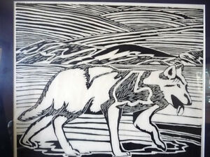 "Original Woodcut, Jolly Atagooyuk ""Arctic Wolf"", Signed, Inuit Stratford Kitchener Area image 2"