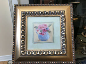 """10"""" x 10"""" with golden wood frame oil painting by Carol Robinson"""