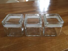 Glass cube storage jars x 3