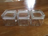 Glass cube storage jars x 3