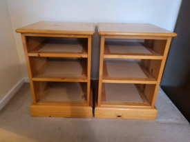 Pair of solid pine open shelves / bedside tables