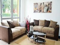 **1 YEAR WARRANTY**BYRON CORDED FABRIC 3 AND 2 SEATER SOFA SET OR CORNER SOFA - SAME DAY DELIVERY