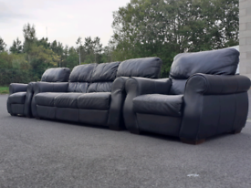 Black Leather 3 Seater Sofa and 2 Chairs