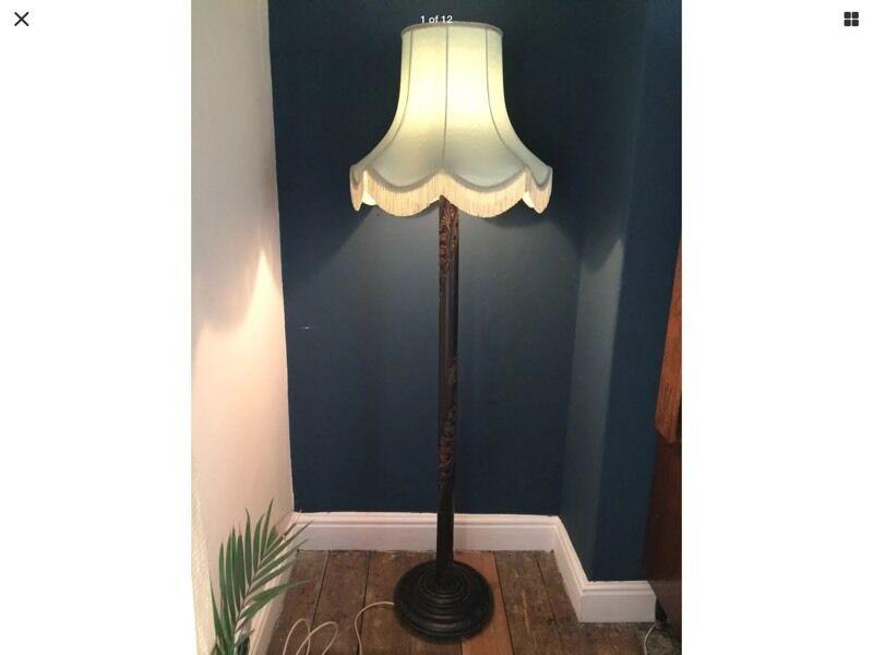 Antique art deco ornate carved wooden standard floor for Floor standing art deco lamp