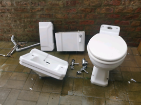 Savoy sink, taps and toilet