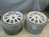 Reduced 4 low profile tires with custom rims