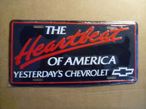 The Heartbeat Of America-CHEVY-Embossed Metal Licence Plates.