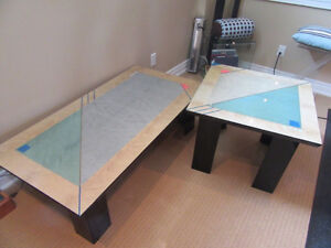 Italian Lacquer Solid Wood Coffee Table + Side Table - mint