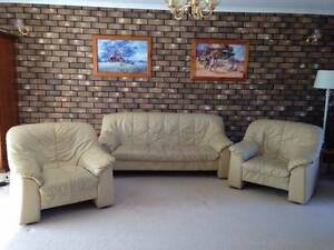 3 Piece Beige Leather Lounge Suite Sofa Couch Grange Charles Sturt Area Preview
