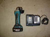 Makita 18 volt lithium ion grinder, charger and battery