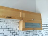 5 horizontal IKEA cabinets in birch