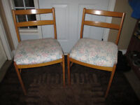 PAIR OF WOODEN CHAIRS WITH REFINISHED SEATS