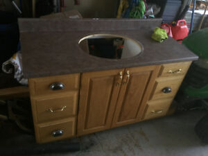 "48"" OAK BATHROOM VANITY IN GREAT SHAPE"