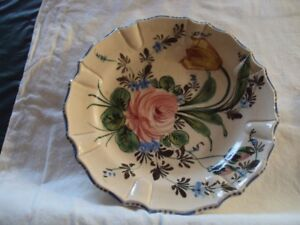 Plate, pink & yellow flower