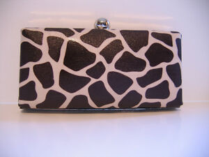 "NEW  CUSTOM MADE ""CLAMSHELL"" CLUTCH WITH GIRAFFE PRINT FABRIC"