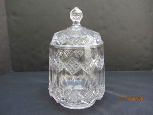 VINTAGE CUT GLASS CONTAINER WITH LID