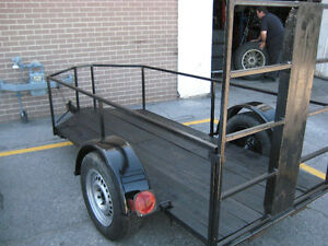 "motor cycle low trailer  9 ft by 45"" drop ramp with channel &4x4"