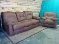 Dual Reclining Couch and Chair - Delivery Available