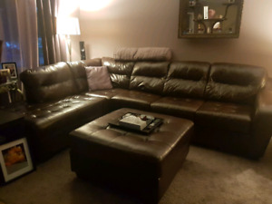 Real leather brown sectional