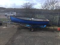 12ft fibreglass dinghy and road trailer for sale £450
