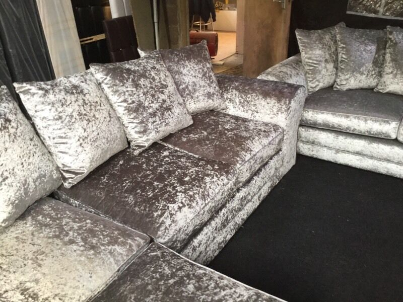 Sale Great Value Silver Crushed Velvet Sofas In Ongar