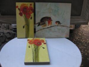 lot de 3 cadres peintures acryliques sur toile