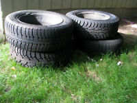 4 WINTER MICHELIN TIRES WITH STEEL RIMS 185/65 R14