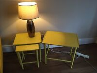 Mustard Vintage Upcycled Nest of Three tables