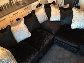 Corner velvet sofa