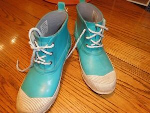 windriver low lace rubber boots turquoise size 10
