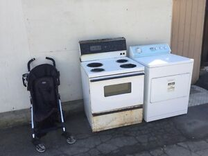 Free stroller and stove and dryer totally free